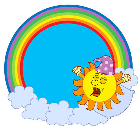 Waking up Sun in rainbow circle - vector illustration. Illustration
