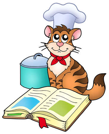 recipe book: Cartoon cat chef with recipe book - color illustration. Stock Photo