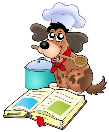 Cartoon dog chef with recipe book - color illustration.