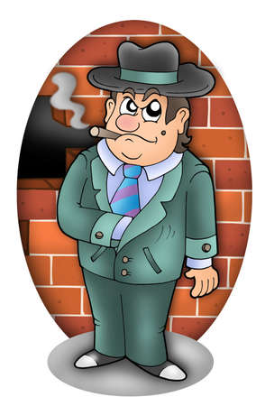 cartoon gangster: Cartoon gangster with wall - color illustration. Stock Photo