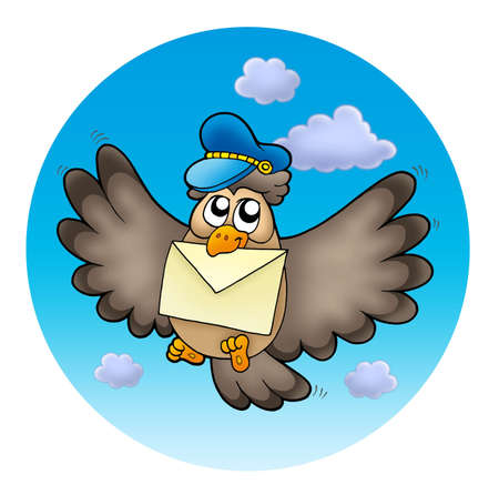 Owl postman on sky - color illustration. Stock Photo