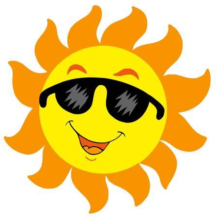 cartoon sun: Caricatura Sol con gafas de sol - ilustraci�n vectorial. Vectores