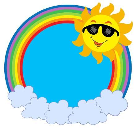 warm colors: Cartoon Sun with sunglasses in rainbow circle - vector illustration.