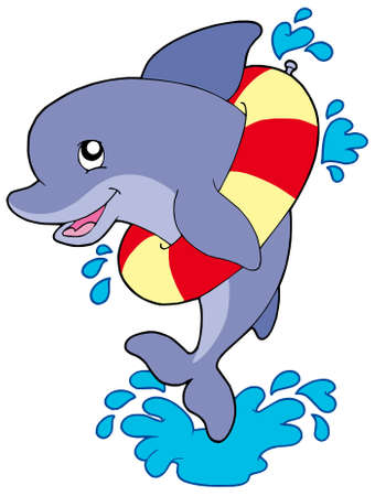 look at: Dolphin with inflatable ring - vector illustration.