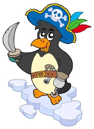 corsair: Pirate penguin on white background - vector illustration. Illustration