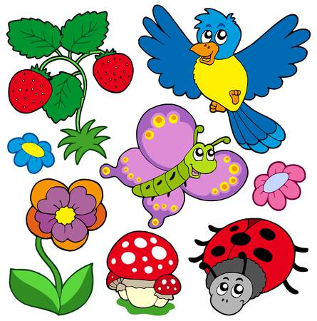 Spring time nature collection - vector illustration.