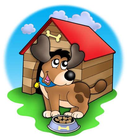 kennel: Cute dog in front of kennel - color illustration.