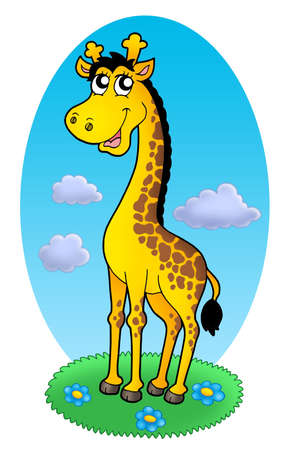 cute giraffe: Cute giraffe standing on grass - color illustration.