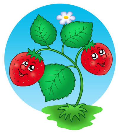 Cute smiling strawberry - color illustration. Stock Illustration - 4844165