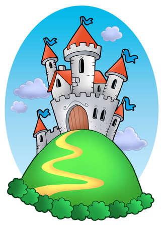 Château de conte de fées avec nuages - illustration de couleur.  Banque d'images