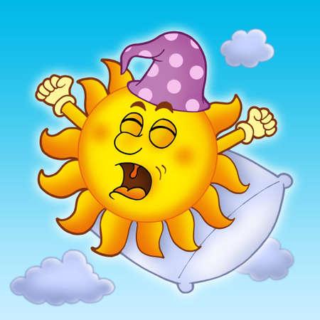 Waking up Sun on blue sky - color illustration. Stock Photo