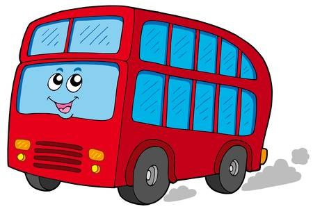 Cartoon doubledecker on white background - vector illustration.
