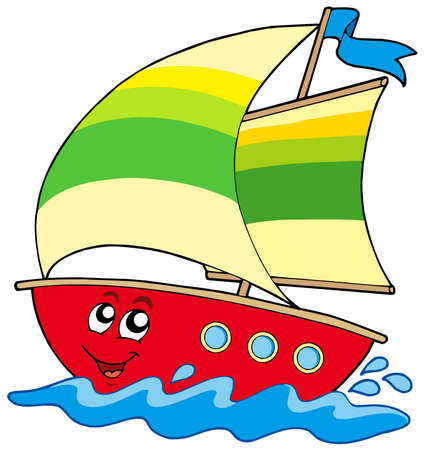 marine ship: Cartoon sailboat on white background - vector illustration. Illustration