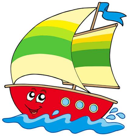 Cartoon zeilboot op witte achtergrond - vector illustratie.