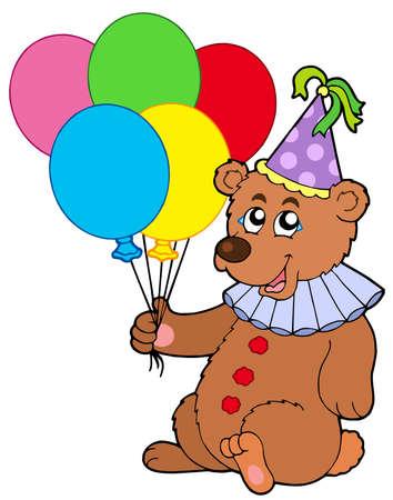 Clown bear with balloons - vector illustration. Vector