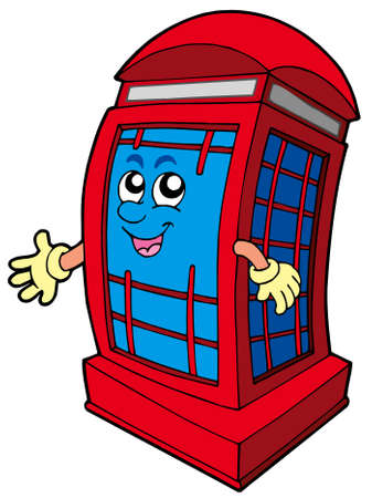 phonebox: English red phone booth - vector illustration.