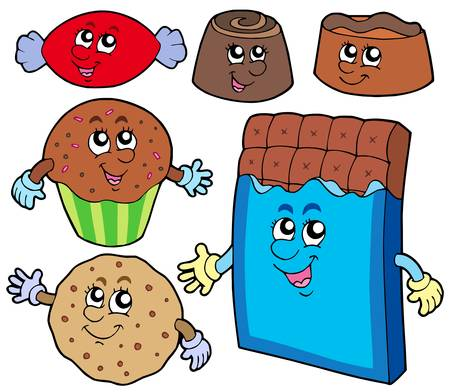 porcion de torta: Dulces de chocolate colecci�n - ilustraci�n vectorial.