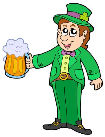 Leprechaun with beer - vector illustration. Vector