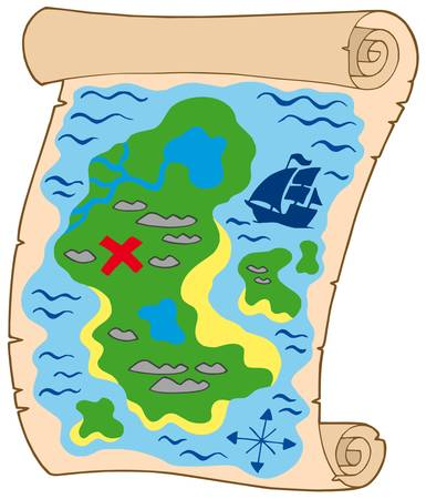 locate: Old parchment with treasure map - vector illustration.
