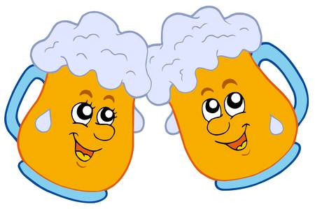 beer mugs: Pair of cartoon beers - vector illustration.