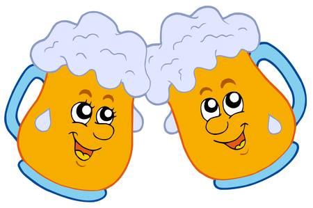 beer pint: Par de cervezas de dibujos animados - ilustraci�n vectorial. Vectores