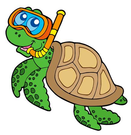 turtle: Sea turtle snorkel diver - vector illustration.