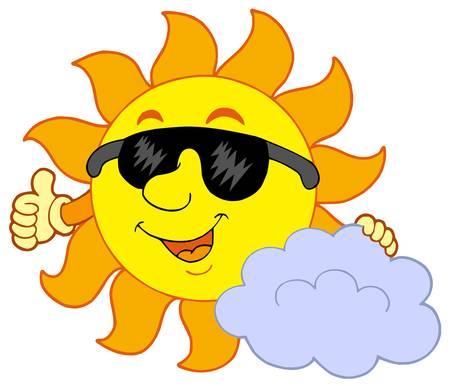 Sun with cloud - vector illustration. Vector