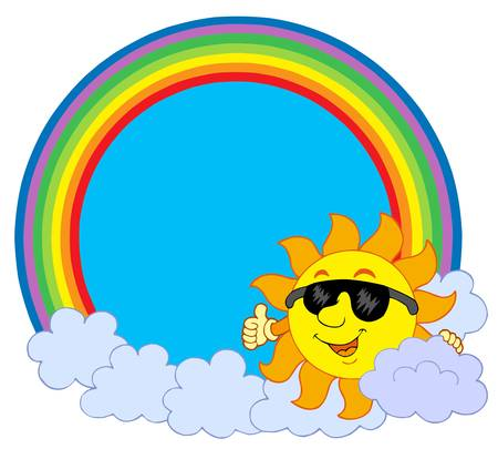 Sun with cloud in rainbow circle - vector illustration.