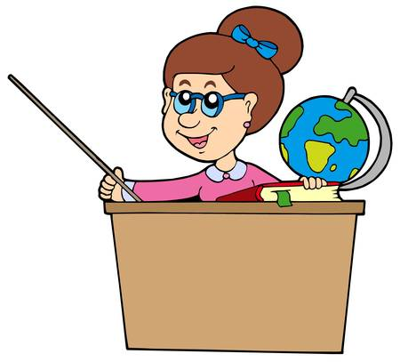 human geography: Teacher behind the desk - vector illustration.