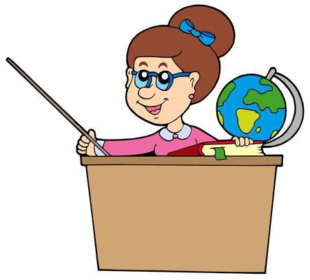 teacher in class: Teacher behind the desk - vector illustration.