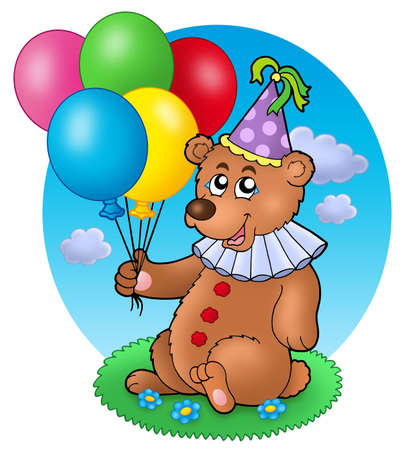 plush: Bear clown with balloons on meadow - color illustration.