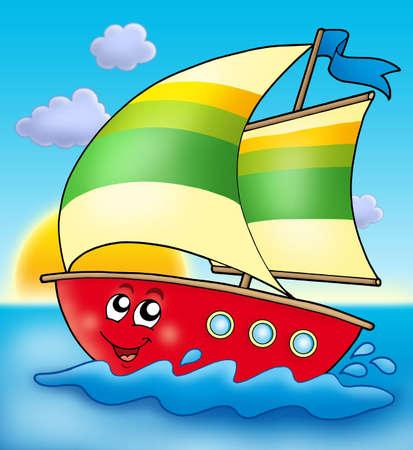 sailing boat: Cartoon sailing boat with sunset - color illustration. Stock Photo