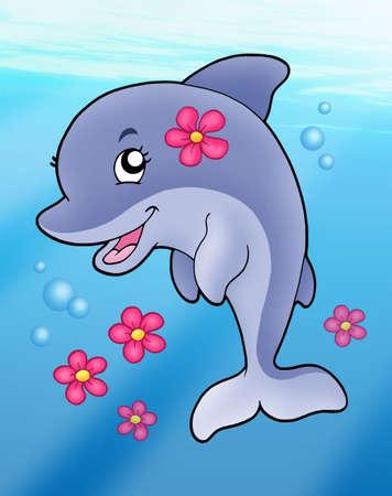 Cute dolphin girl in sea - color illustration.
