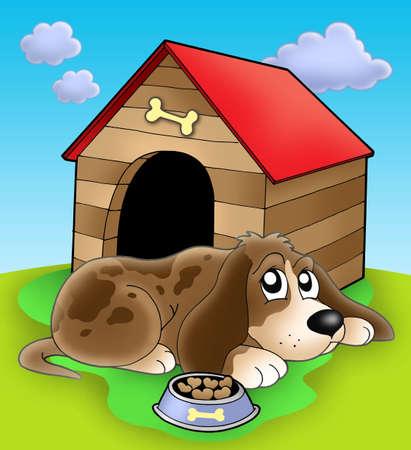 kennel: Dog resting in front of kennel - color illustration.
