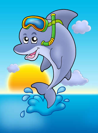 Dolphin snorkel diver with sunset - color illustration. Stock Photo