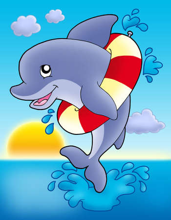 inflatable: Jumping dolphin with inflatable ring - color illustration.