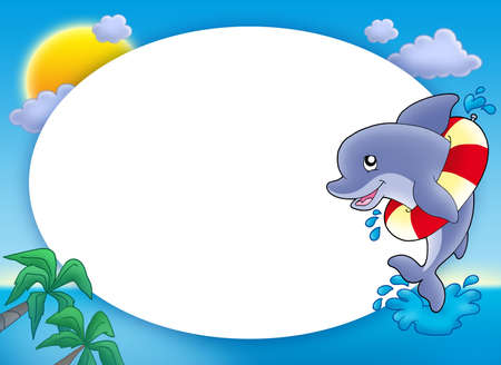 cartoon frame: Round frame with jumping dolphin - color illustration. Stock Photo