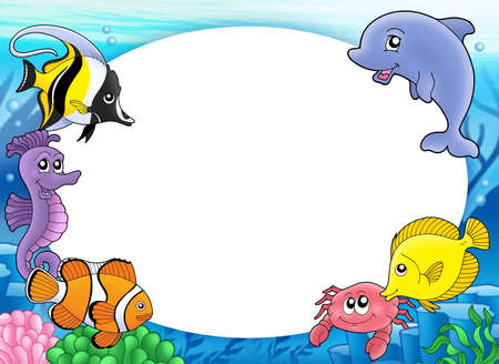 at the bottom of: Round frame with tropical fishes - color illustration.
