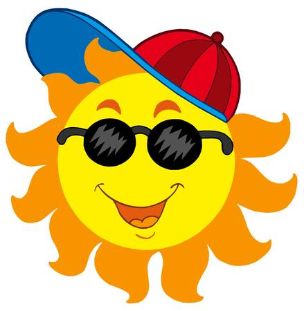 Cartoon Sun in baseball cap - vector illustration. Stock Vector - 4928388