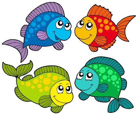 saltwater fish: Cute cartoni animati pesci raccolta - illustrazione vettoriale.