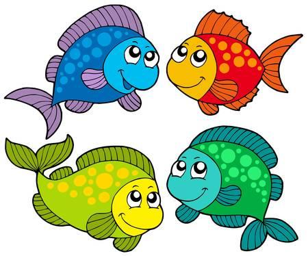 aquatic life: Cute cartoon fishes collection - vector illustration.