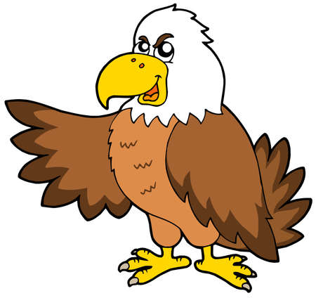 dignity: Cartoon eagle on white background - vector illustration.