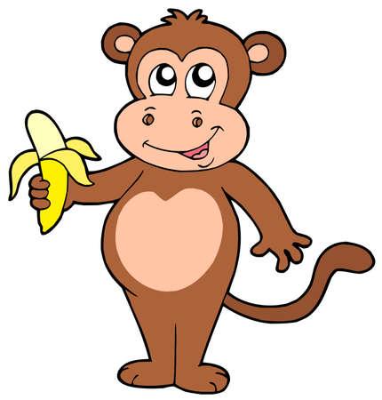 Cute monkey with banana - vector illustration.