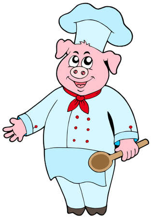 Pig chef on white background - vector illustration. Vector
