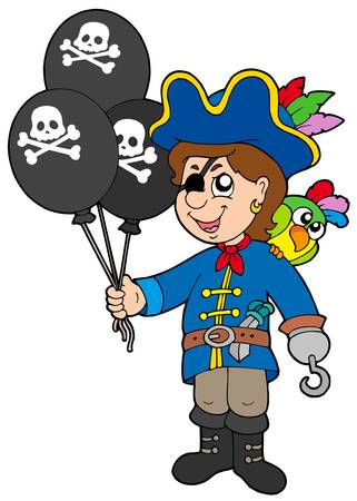 Pirate boy with balloons - vector illustration. Vector