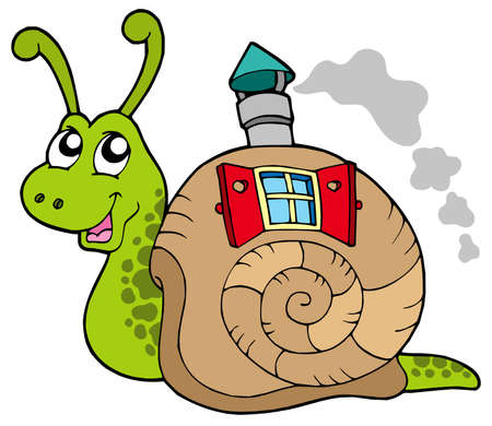 fable: Snail with shell house - vector illustration.
