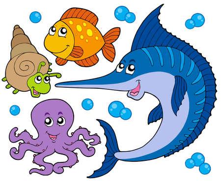 Recogida de animales acuáticos 3 - ilustración vectorial.