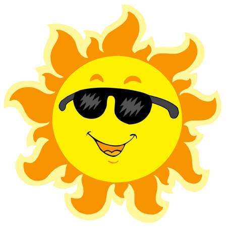 Cute summer Sun with sunglasses - vector illustration. Vector