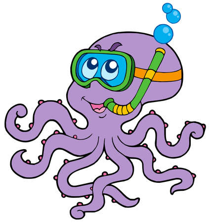 Octopus snorkel diver - vector illustration.