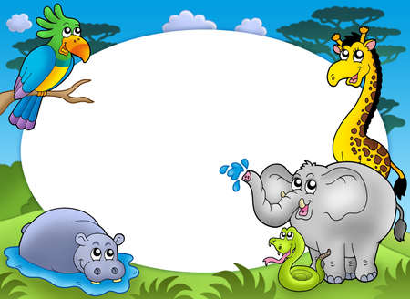 camelopard: Round frame with African animals - color illustration. Stock Photo